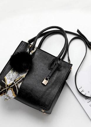 Черная классическая, каркасная сумка среднего размера, офистная