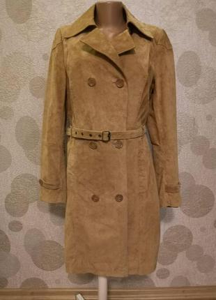 Великолепное  стильное  замшевое пальто тренч плащ