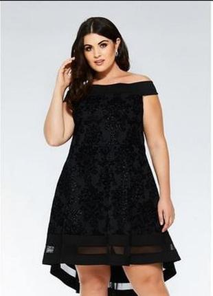 Платье черное вечерние открытые спущенные плечи глиттер