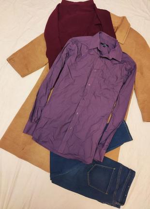 Мужская рубашка сиреневая фиолетовая классическая george