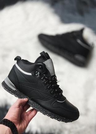 Кроссовки reebok classic leather mid sherpa black (зима)