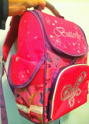 Школьный каркасный рюкзак Butterfly, 34x29x17, бренд Kite