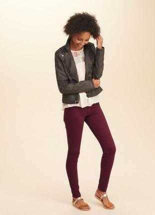 Джинсы винно-бордового цвета skinny  jeans  скинни облегающие