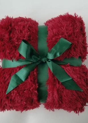 Плед-травка, бордовый красивый насыщенный цвет, размер 220*240 см