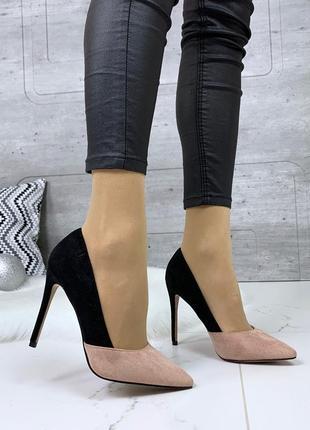 Замшевые черно-пудровые туфли на шпильке,шикарные туфли лодочк...