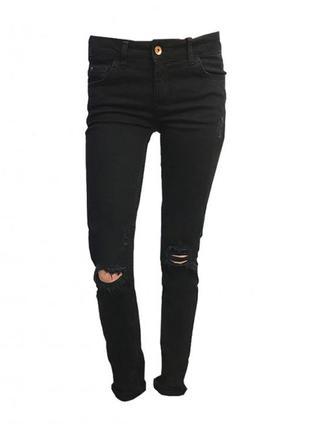 Женские джинсы джеггинсы с потертостями