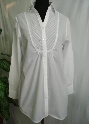 Удлиненная блуза -рубаха белая bexleys.
