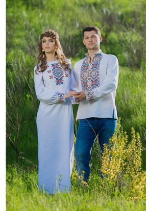 Оригінальний комплект - чоловіча вишита сорочка та жіноча сукня