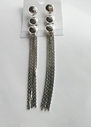 Серьги длинные 8,5 см. серебристые