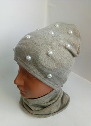 Комплект демисезонный одинарная шапка и хомут