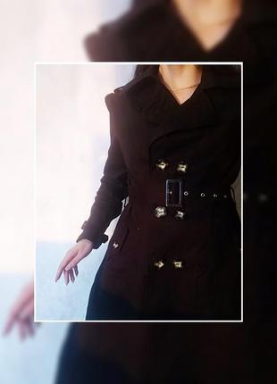 Тренч чёрный на пуговицах / плащ женский / верхняя одежда