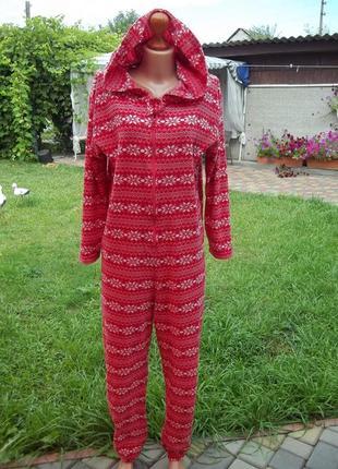 ( 48 р) домашний флисовый комбинезон пижама кигуруми человечек