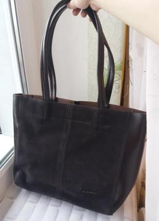 Кожаный замшевый шопкр кожаная сумка женская из натуральной кл...