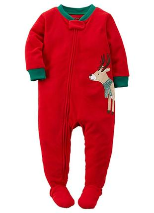 Новогодняя флисовая пижама слип человечек carters, 24m