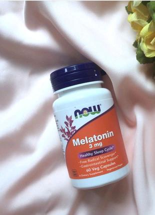 Бессонница, Now Foods, Melatonin, Мелатонин, 3 мг, 60 капсул