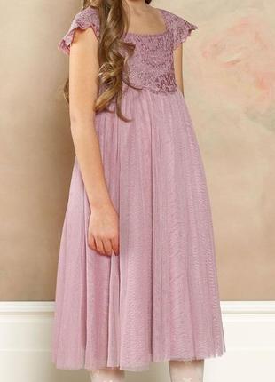 Нарядное блестящее розовое платье на девочку monsoon 128