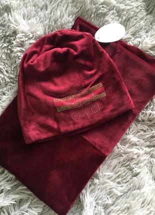 Набор комплект велюровый шапка хомут