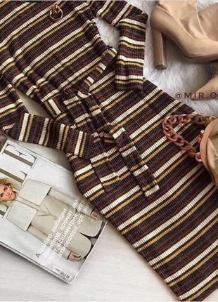 Платье трикотажное миди в полоску next размер 10