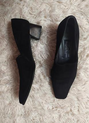 Туфлі замшеві з квадратним носком натуральна замша