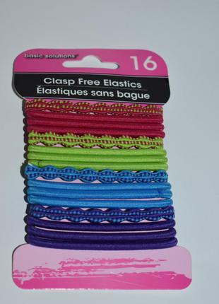 Набор 16 разноцветных резинок для волос elastics clasp free ba...