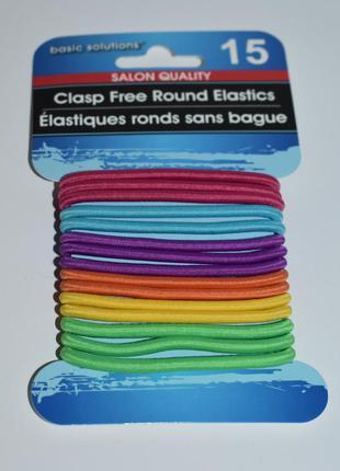 Набор 15 разноцветных резинок для волос round elastics clasp f...
