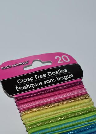 Набор 20 разноцветных резинок для волос elastics clasp free ba...