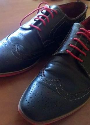 Туфли мужские кожаные, темно-коричневые, размер 40 (по стельке...