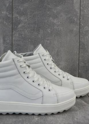 Кеды женские brand b11 белые (натуральная кожа, зима)
