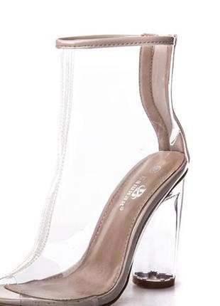 Прозрачные ботинки бежевые