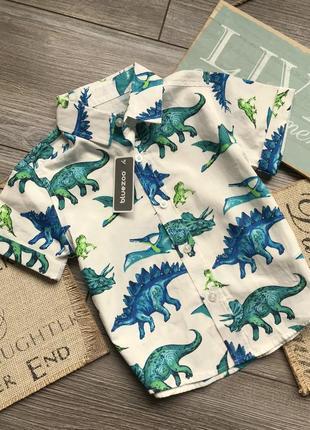 Рубашка новая с динозаврами bluezoo 12-18 мес
