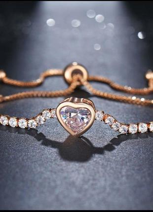 Брослет золотое сердце