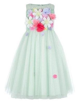 Нарядное зеленое платье для девочки monsoon рост 128
