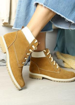 Кожаные зимние женские рыжые ботинки на шнурках низкий каблук ...