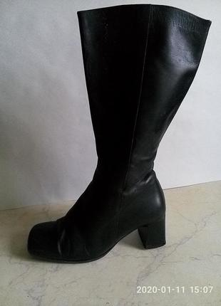 Сапоги кожа квадратный носок каблук