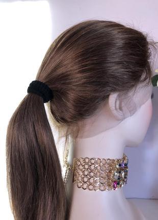 Натуральный русый парик (система волос на сетке), длинный с им...