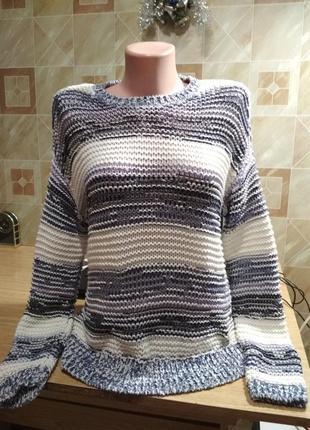 Красивейший свитер из ленточной пряжи