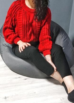 Теплий червоний светр/ теплый красный свитер