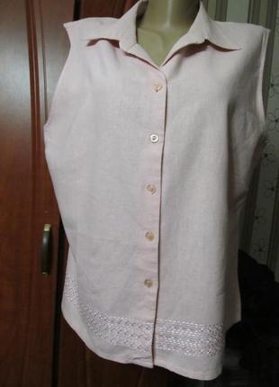 Блузка летняя натуральная нюдового цвета