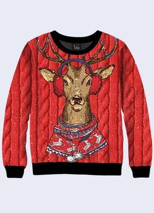 Мужской свитшот Олень в свитере с наушниками, 3D свитшот с при...