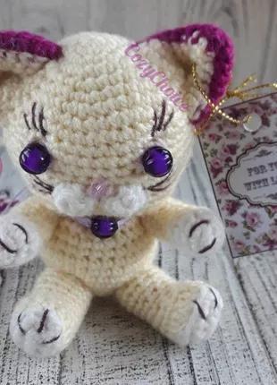 Вязаный котенок цвет Фуксия