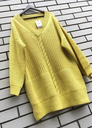 Новый,желтый,вязаный свитер в косы,джемпер,пуловер,кофта,больш...