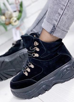 Замшевые демисезонные ботинки в стиле buffalo, спортивные боти...