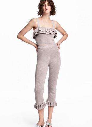 Блестящие брюки с оборкой  h&m