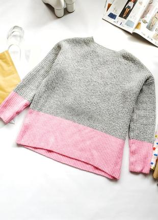 Двухцветный серый розовый вязаный свитер primark