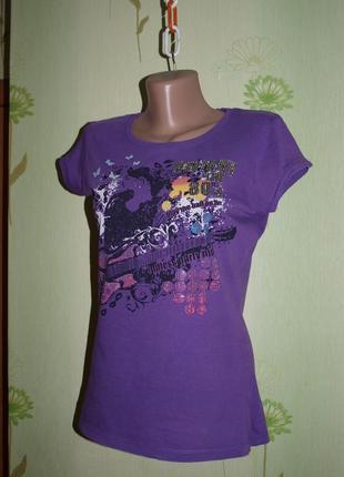 Футболка фиолетовая с принтом s-m