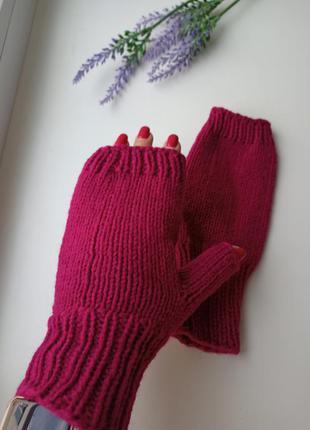 Митенки вязаные перчатки для сенсорных экранов варежки без пал...