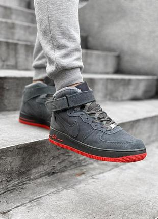 Nike air force grey red. мужские зимние кроссовки найк с мехом