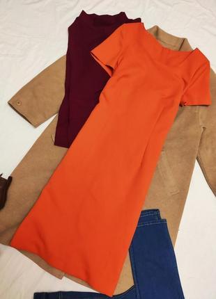 Оранжевое платье миди классическое прямое ручная работа