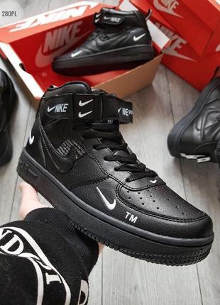 Nike air force black, кроссовки мужские высокие найк, чёрные д...