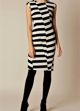 Чёрно белое платье в полоску футляр люксового брэнда karen mil...